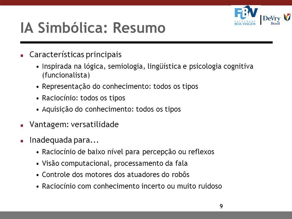 IA Simbólica: Resumo Características principais
