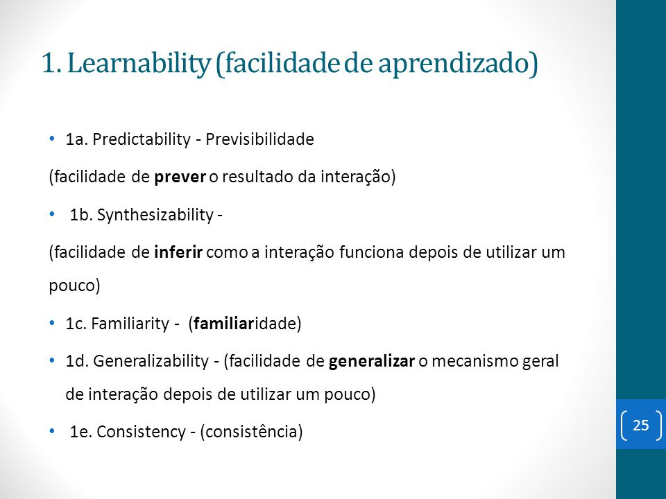 1. Learnability (facilidade de aprendizado)