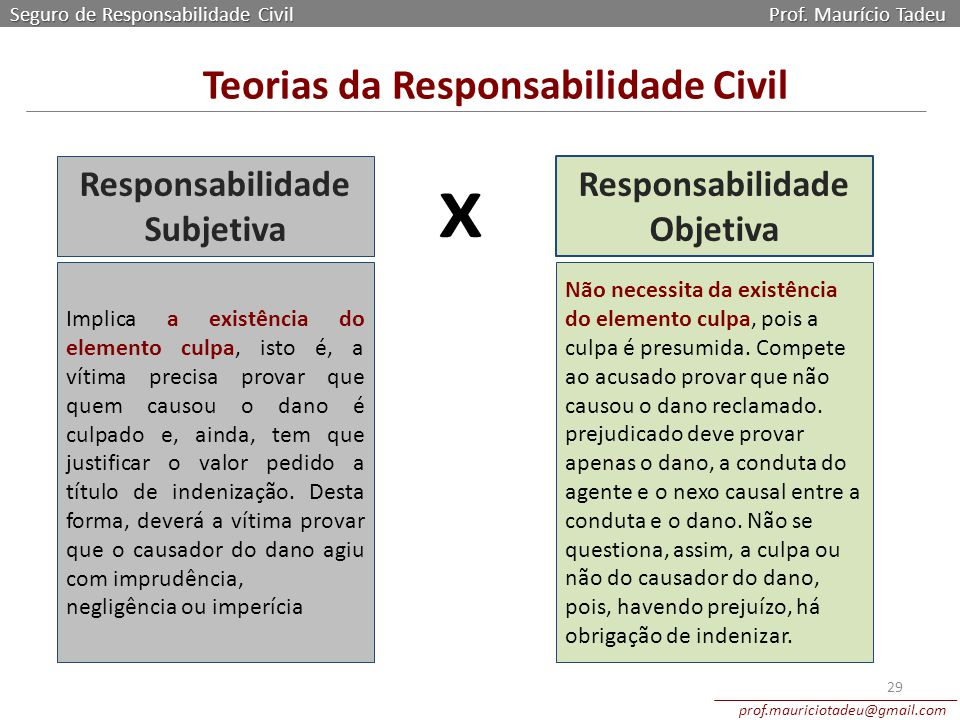 Teorias da Responsabilidade Civil Responsabilidade Objetiva