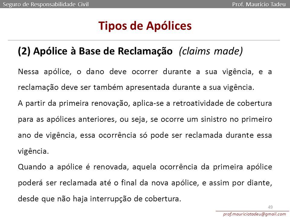 Tipos de Apólices (2) Apólice à Base de Reclamação (claims made)