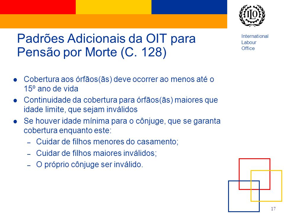 Padrões Adicionais da OIT para Pensão por Morte (C. 128)