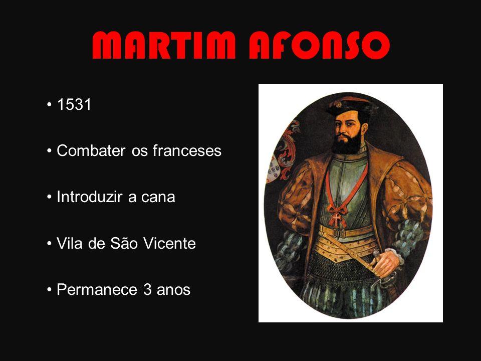 MARTIM AFONSO • 1531 • Combater os franceses • Introduzir a cana • Vila de São Vicente • Permanece 3 anos
