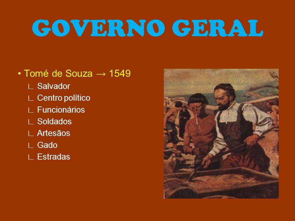 GOVERNO GERAL • Tomé de Souza → 1549 ∟ Salvador ∟ Centro político