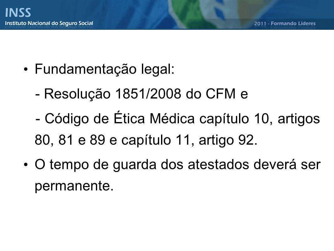 Fundamentação legal: - Resolução 1851/2008 do CFM e. - Código de Ética Médica capítulo 10, artigos 80, 81 e 89 e capítulo 11, artigo 92.