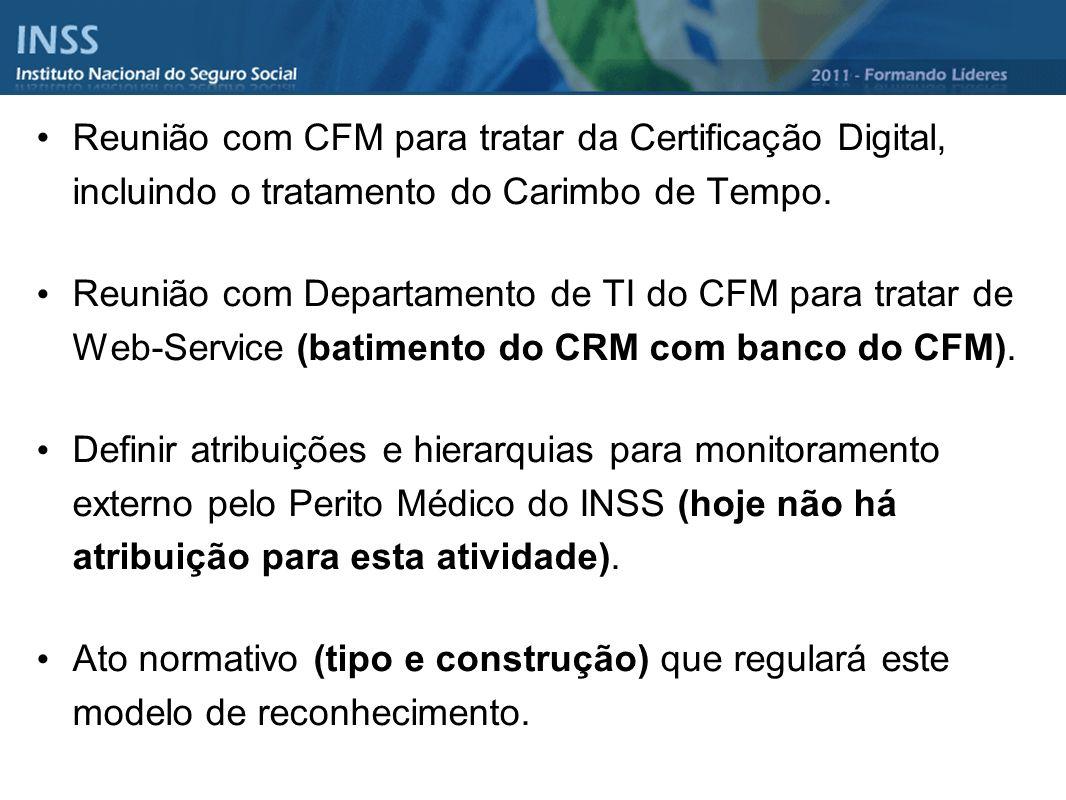 Reunião com CFM para tratar da Certificação Digital, incluindo o tratamento do Carimbo de Tempo.
