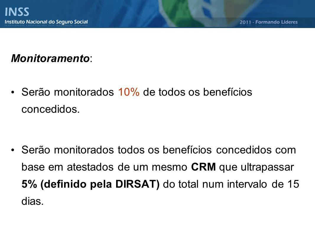 Monitoramento: Serão monitorados 10% de todos os benefícios concedidos.