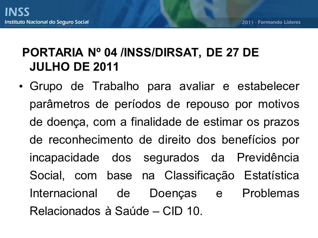 PORTARIA Nº 04 /INSS/DIRSAT, DE 27 DE JULHO DE 2011