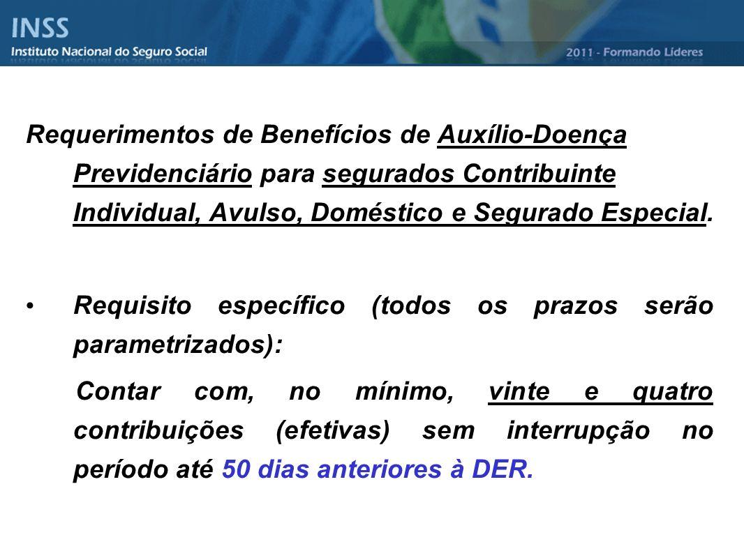 Requerimentos de Benefícios de Auxílio-Doença Previdenciário para segurados Contribuinte Individual, Avulso, Doméstico e Segurado Especial.