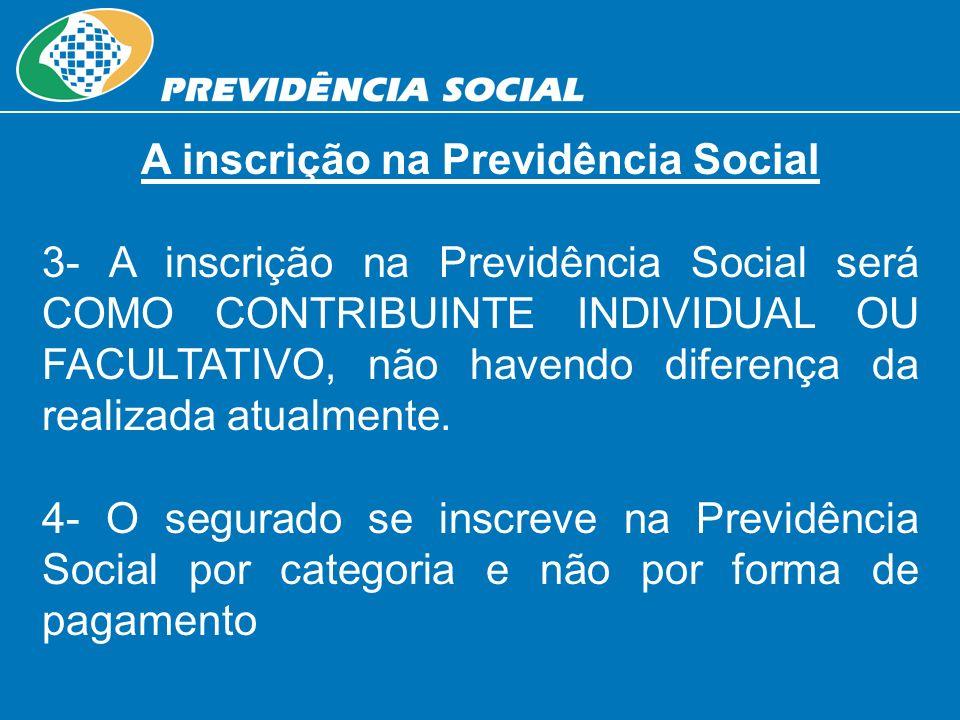 A inscrição na Previdência Social