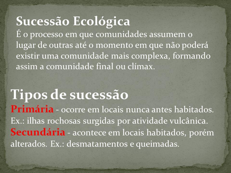 Tipos de sucessão Sucessão Ecológica