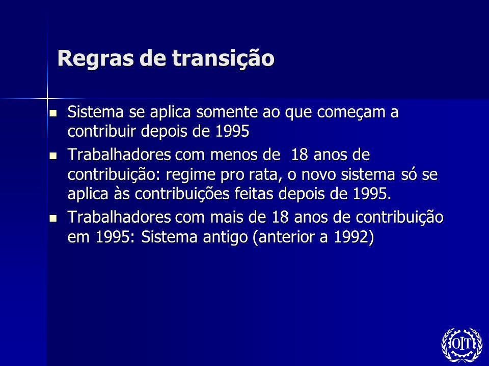 Regras de transição Sistema se aplica somente ao que começam a contribuir depois de 1995.