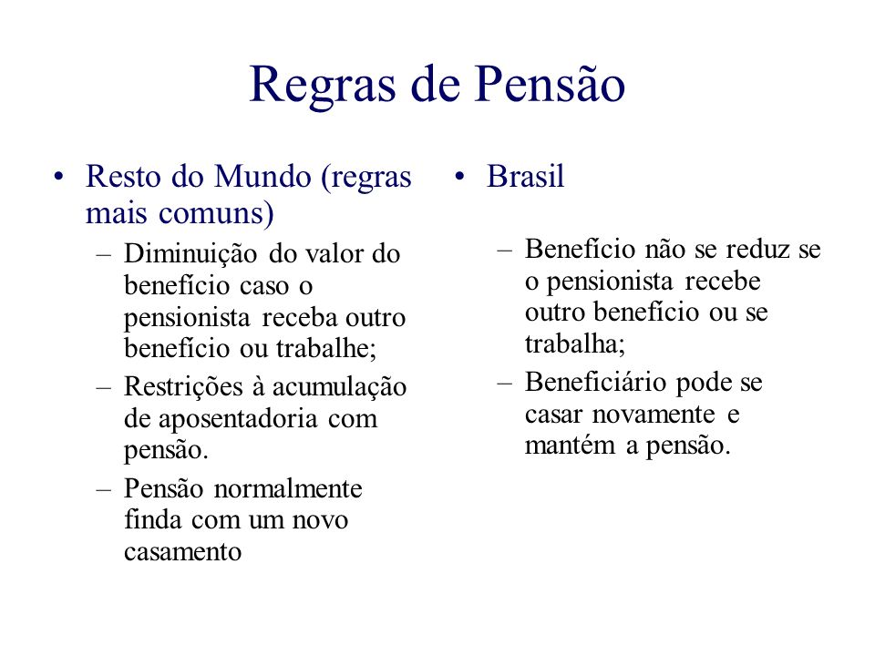 Regras de Pensão Resto do Mundo (regras mais comuns) Brasil