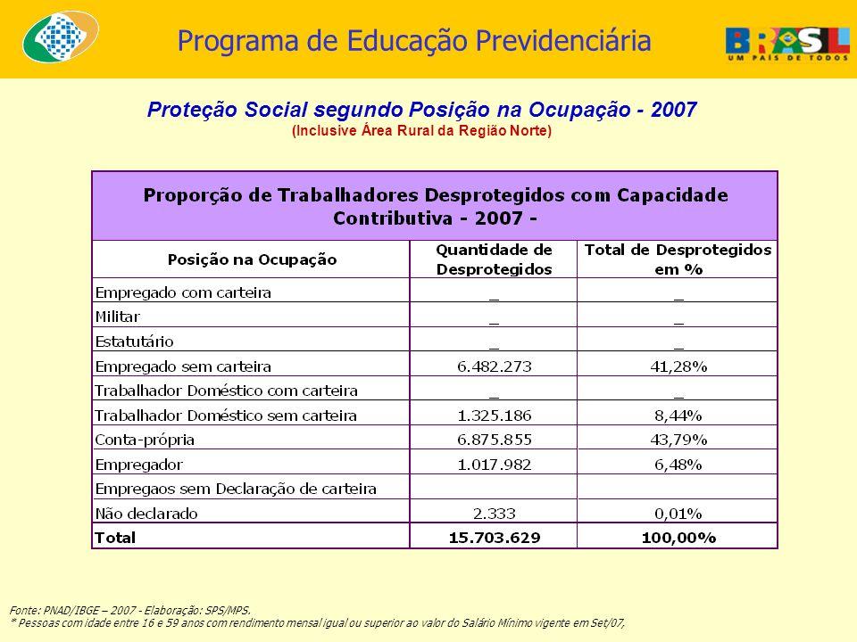 Proteção Social segundo Posição na Ocupação - 2007
