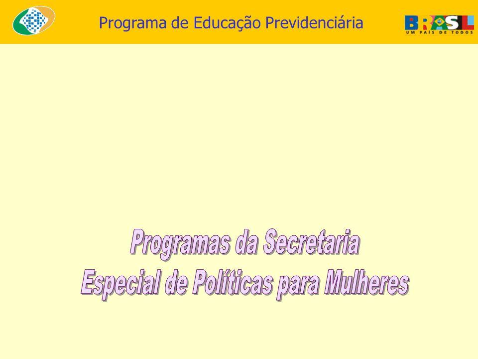 Programas da Secretaria Especial de Políticas para Mulheres