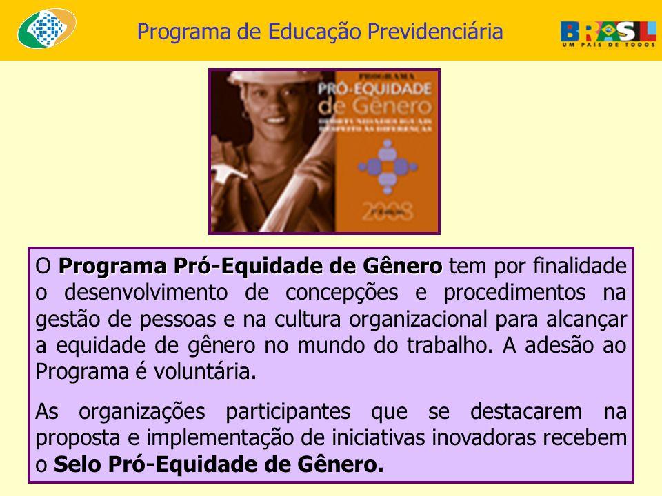 O Programa Pró-Equidade de Gênero tem por finalidade o desenvolvimento de concepções e procedimentos na gestão de pessoas e na cultura organizacional para alcançar a equidade de gênero no mundo do trabalho. A adesão ao Programa é voluntária.