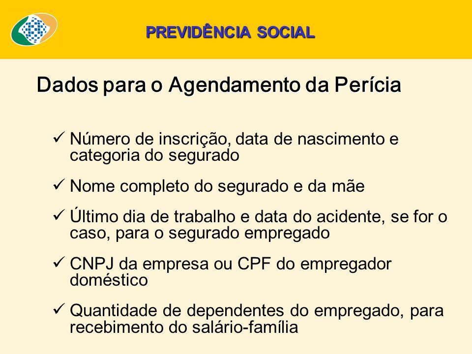 Dados para o Agendamento da Perícia