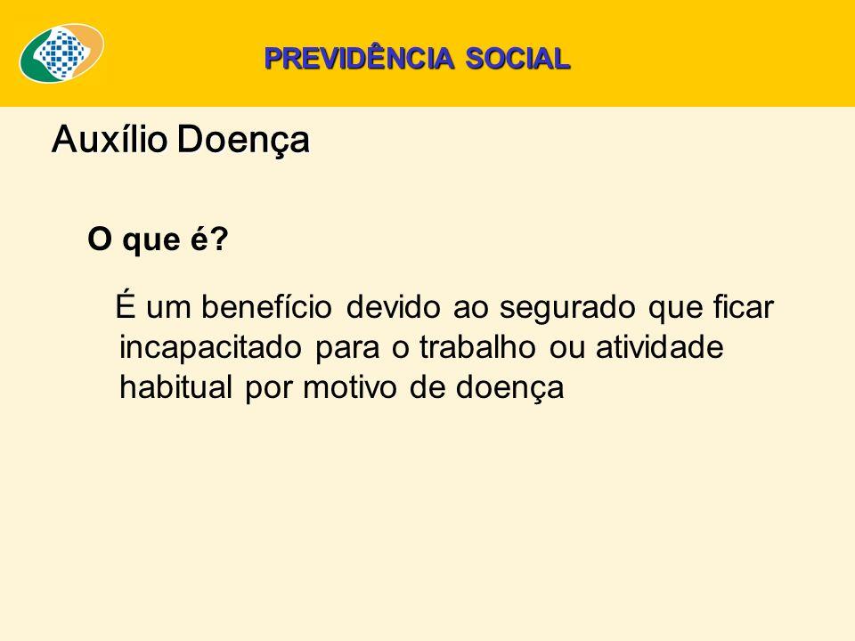 PREVIDÊNCIA SOCIAL Auxílio Doença. O que é