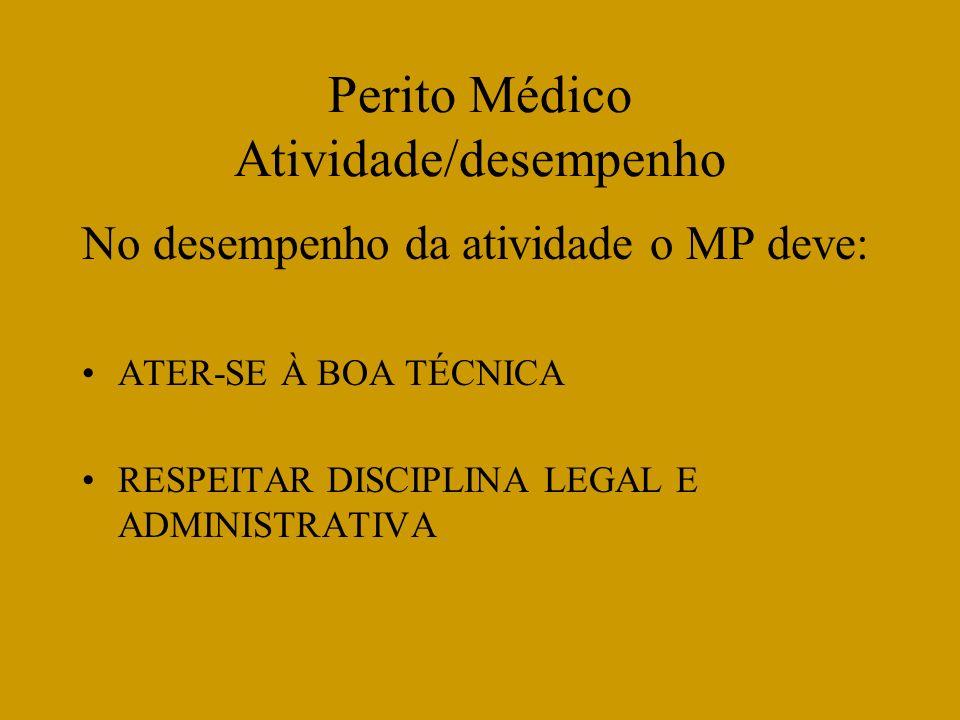 Perito Médico Atividade/desempenho