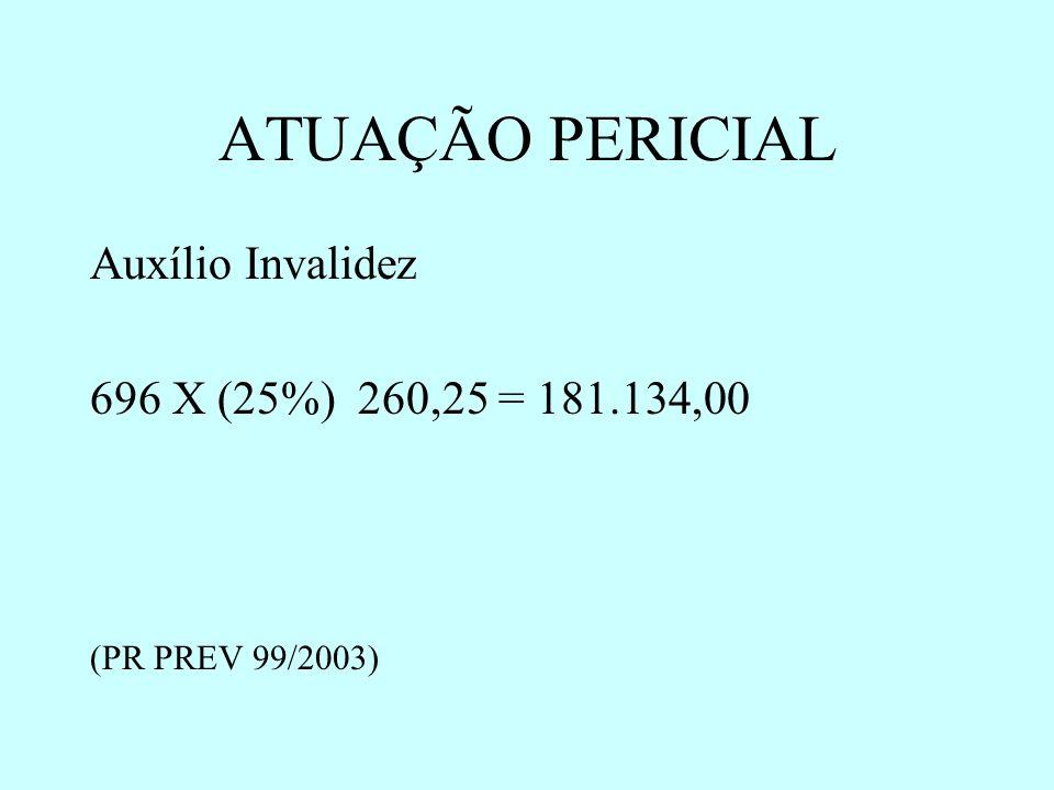 ATUAÇÃO PERICIAL Auxílio Invalidez 696 X (25%) 260,25 = 181.134,00