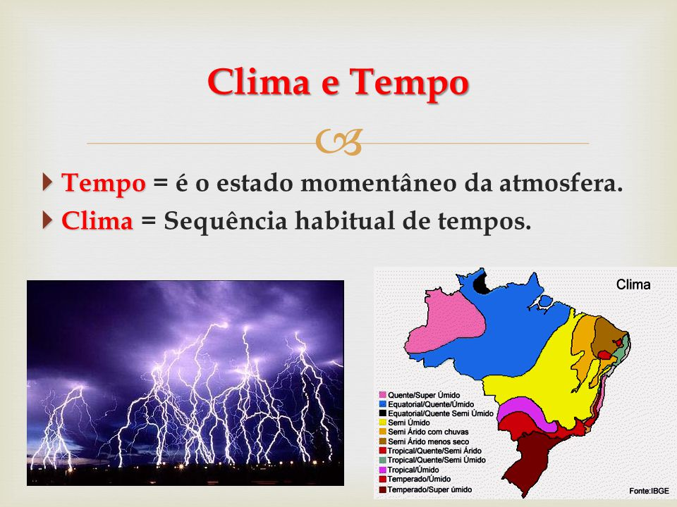 Clima e Tempo Tempo = é o estado momentâneo da atmosfera.