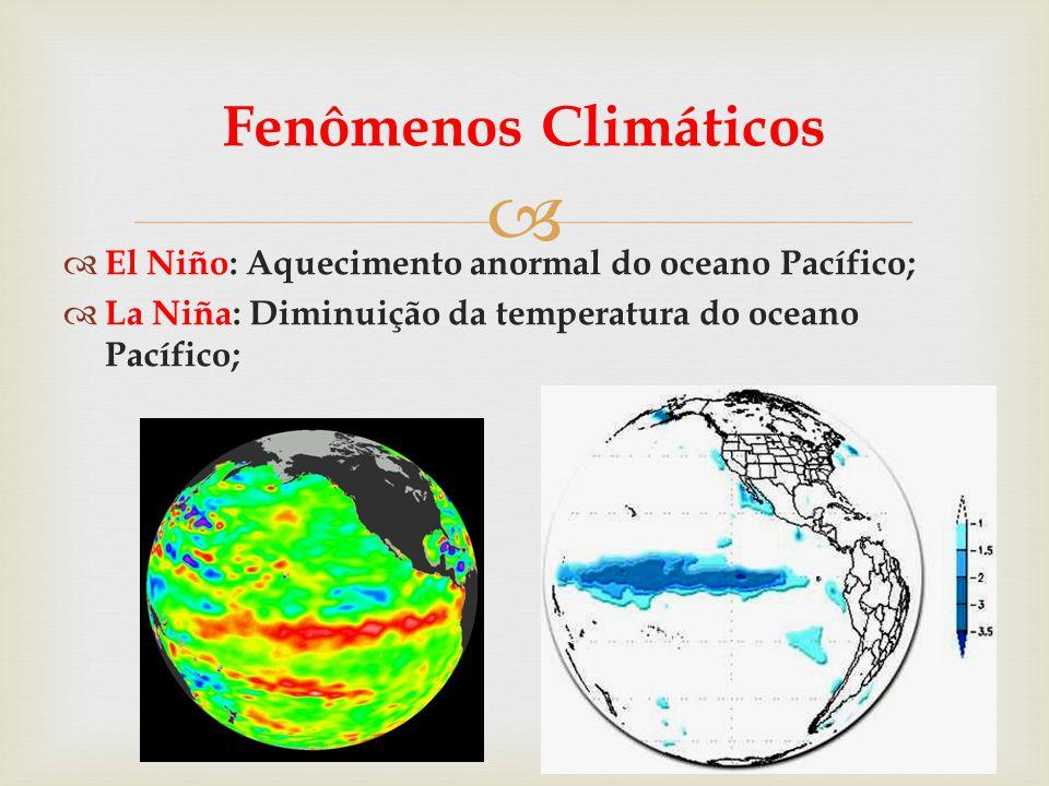 Fenômenos Climáticos El Niño: Aquecimento anormal do oceano Pacífico;