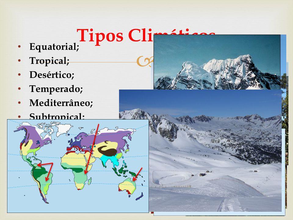 Tipos Climáticos Equatorial; Tropical; Desértico; Temperado;
