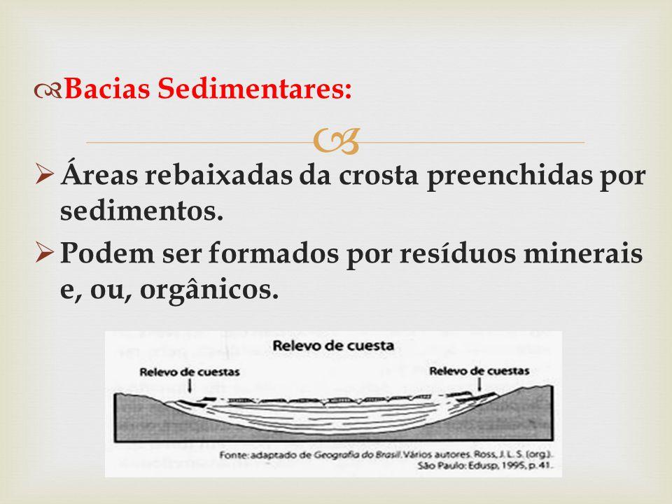 Bacias Sedimentares: Áreas rebaixadas da crosta preenchidas por sedimentos.