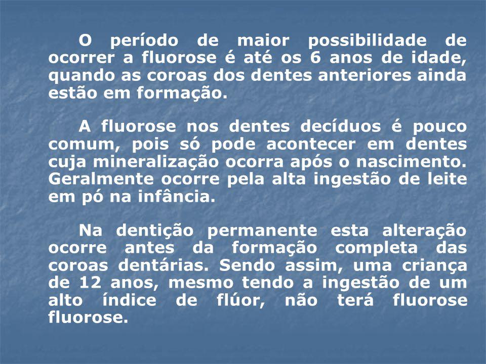 O período de maior possibilidade de ocorrer a fluorose é até os 6 anos de idade, quando as coroas dos dentes anteriores ainda estão em formação.