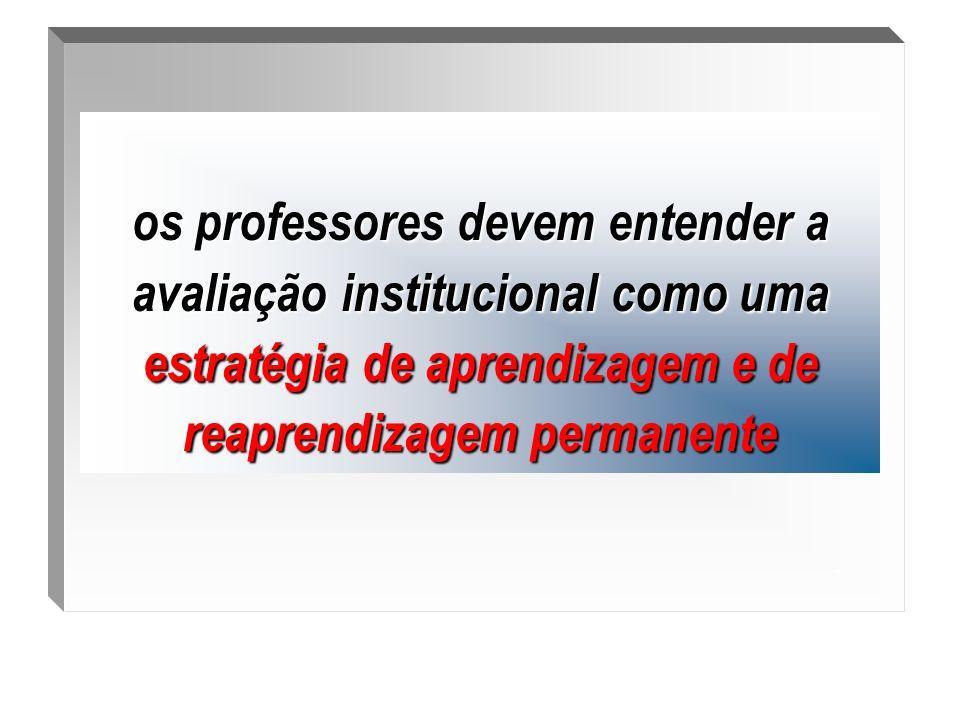 .os professores devem entender a avaliação institucional como uma estratégia de aprendizagem e de reaprendizagem permanente.