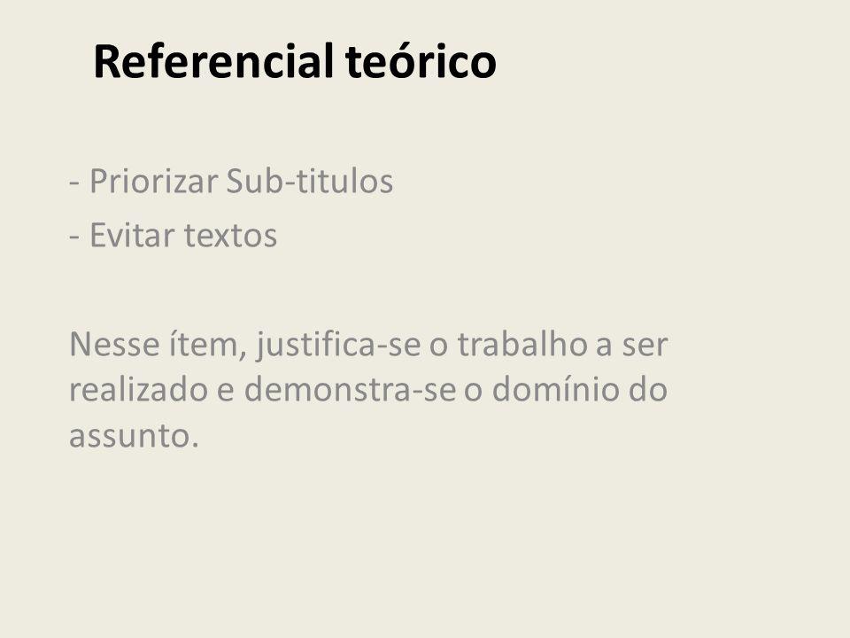 Referencial teórico - Priorizar Sub-titulos - Evitar textos