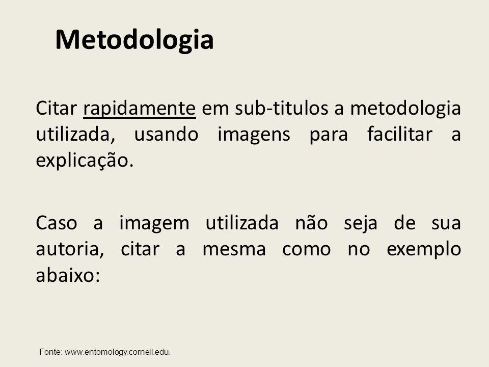 Metodologia Citar rapidamente em sub-titulos a metodologia utilizada, usando imagens para facilitar a explicação.