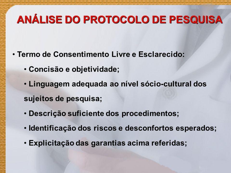 ANÁLISE DO PROTOCOLO DE PESQUISA