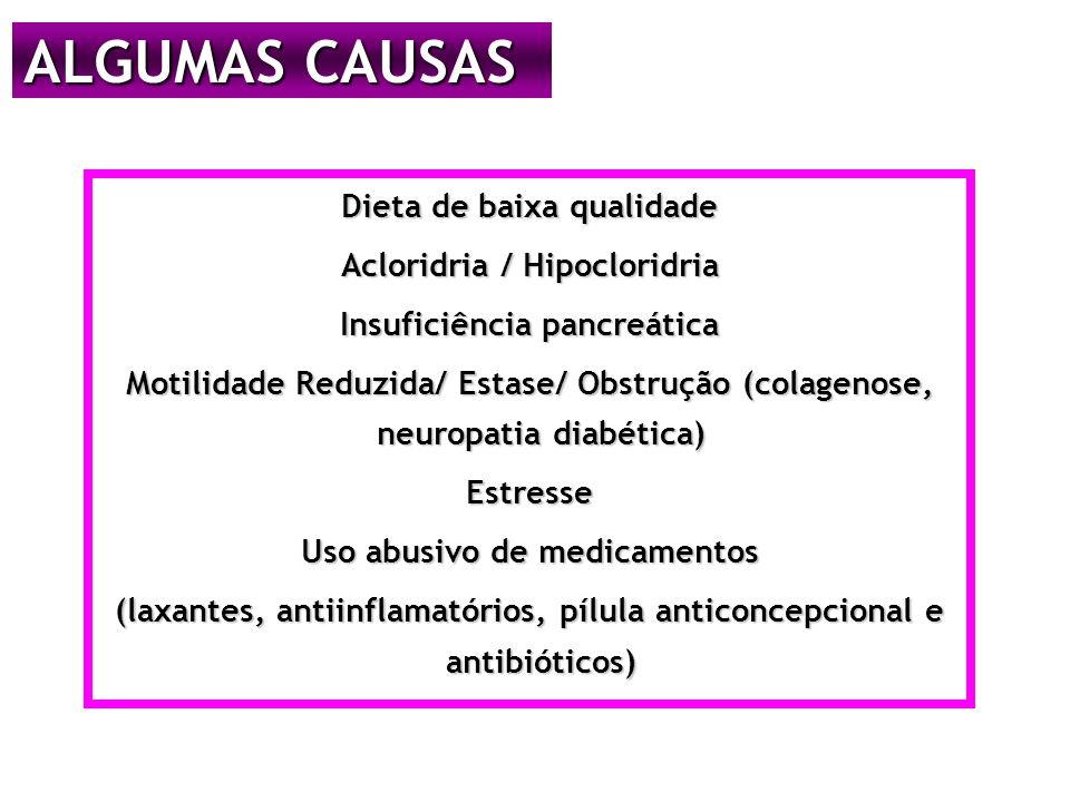 ALGUMAS CAUSAS Dieta de baixa qualidade Acloridria / Hipocloridria