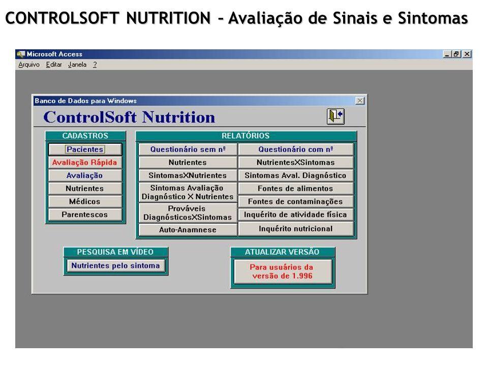 CONTROLSOFT NUTRITION – Avaliação de Sinais e Sintomas