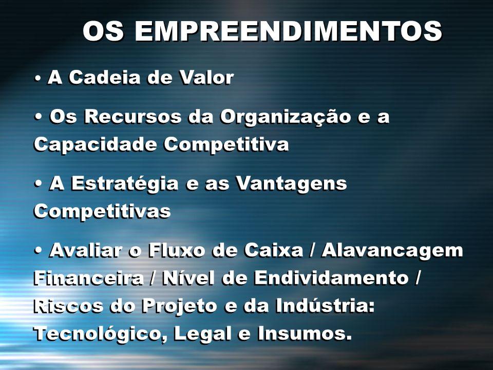 OS EMPREENDIMENTOS A Cadeia de Valor. Os Recursos da Organização e a Capacidade Competitiva. A Estratégia e as Vantagens Competitivas.