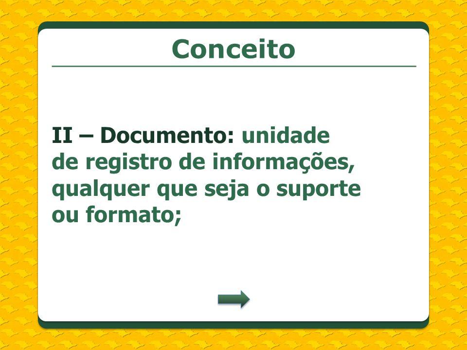Conceito II – Documento: unidade de registro de informações, qualquer que seja o suporte ou formato;