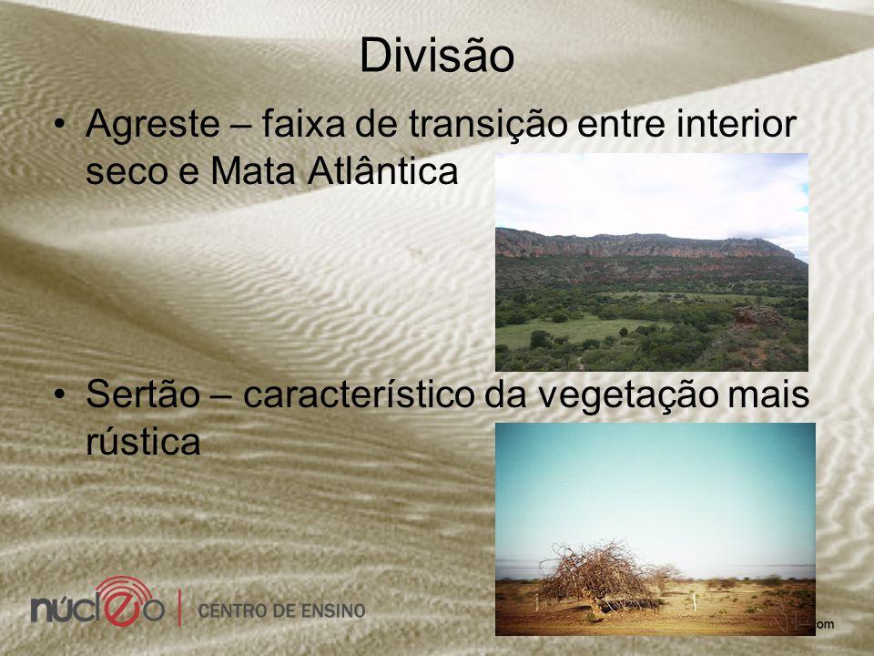 Divisão Agreste – faixa de transição entre interior seco e Mata Atlântica.