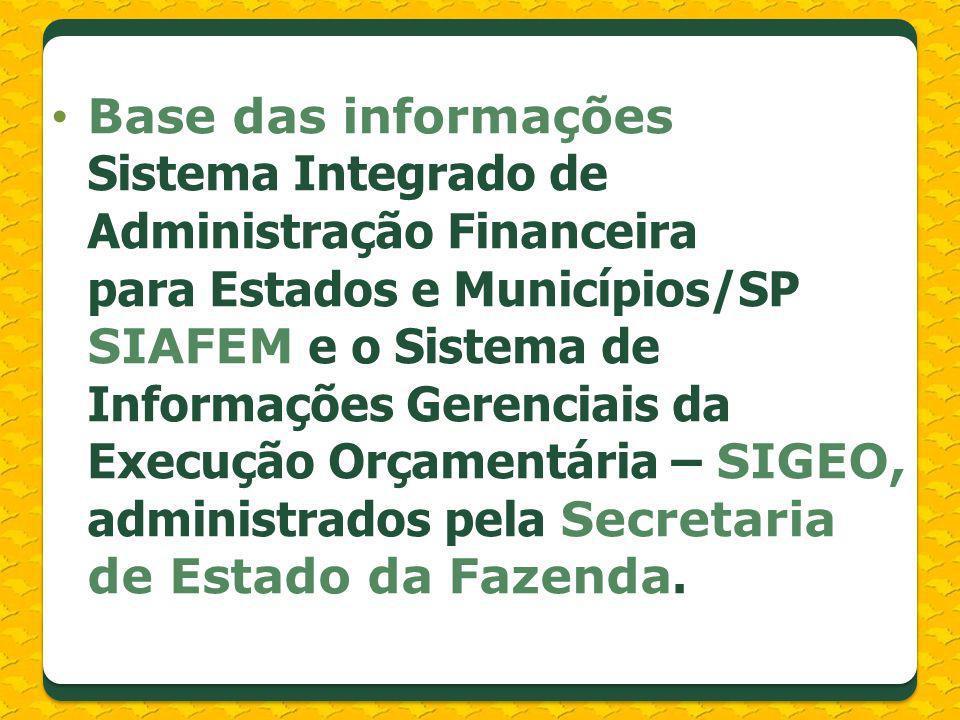 Base das informações Sistema Integrado de Administração Financeira para Estados e Municípios/SP SIAFEM e o Sistema de Informações Gerenciais da Execução Orçamentária – SIGEO, administrados pela Secretaria de Estado da Fazenda.