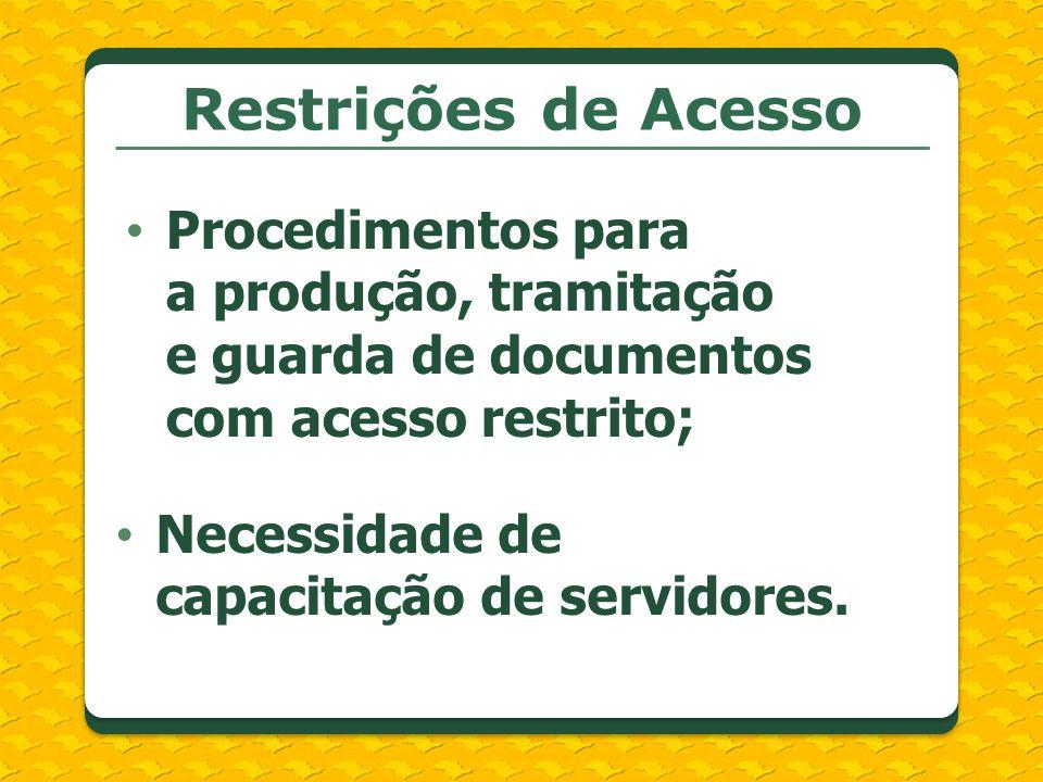 Restrições de Acesso Procedimentos para a produção, tramitação e guarda de documentos com acesso restrito;