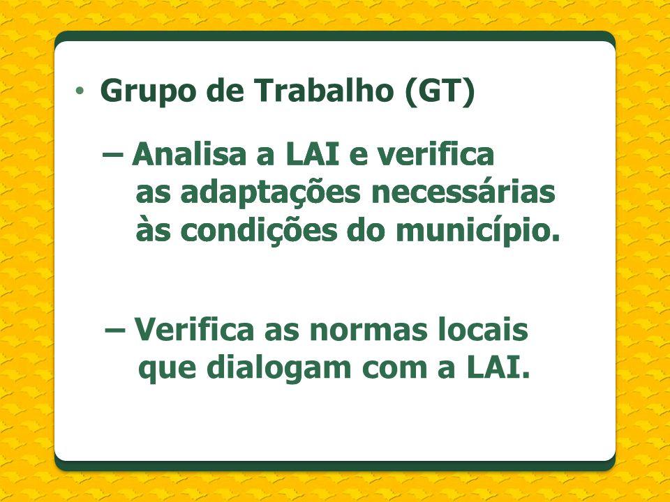 Grupo de Trabalho (GT)– Analisa a LAI e verifica as adaptações necessárias às condições do município.