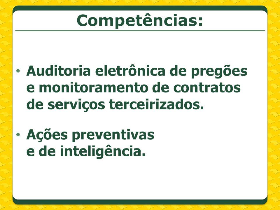 Competências: Auditoria eletrônica de pregões e monitoramento de contratos de serviços terceirizados.