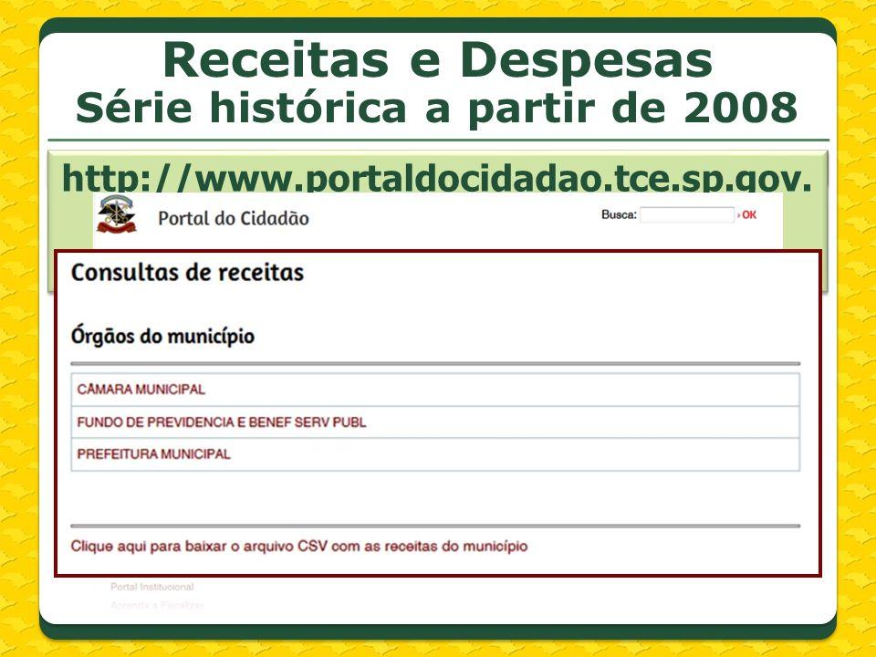 Receitas e Despesas Série histórica a partir de 2008