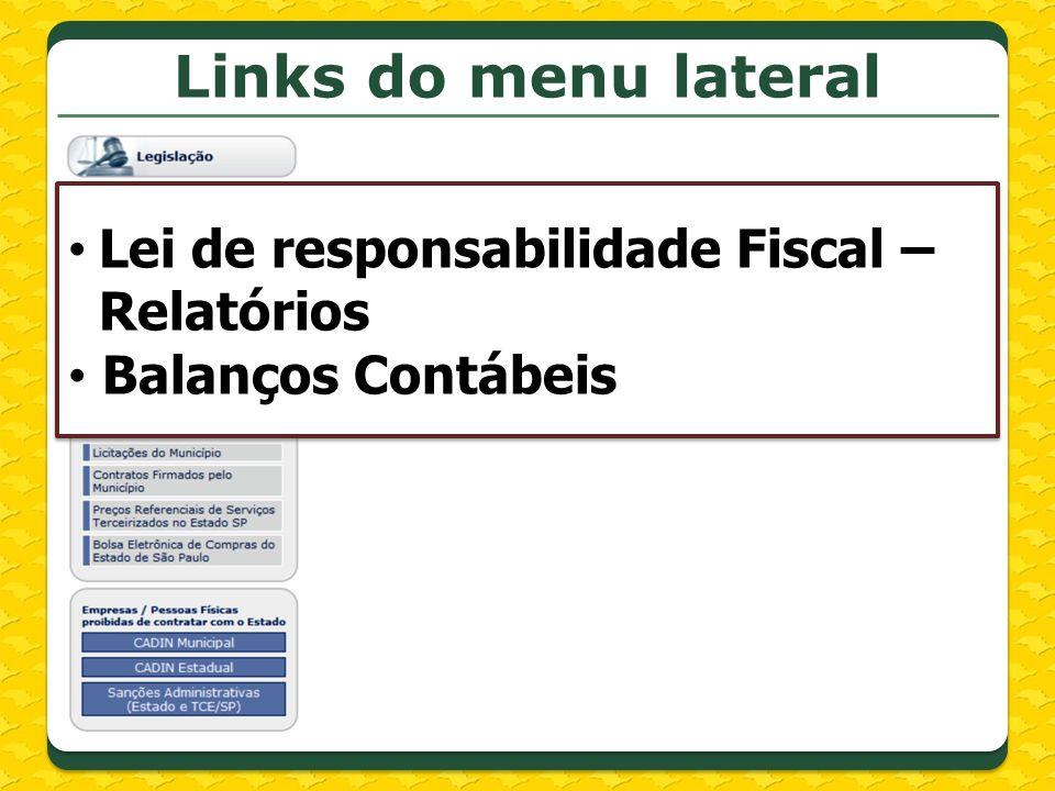 Links do menu lateral Lei de responsabilidade Fiscal – Relatórios
