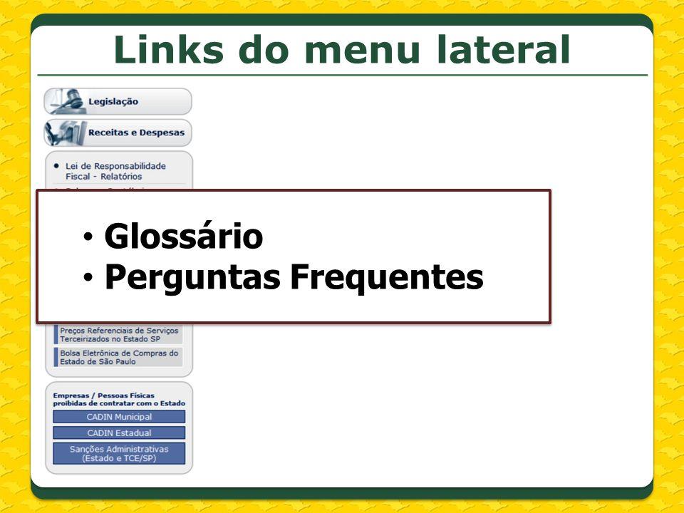 Links do menu lateral Glossário Perguntas Frequentes