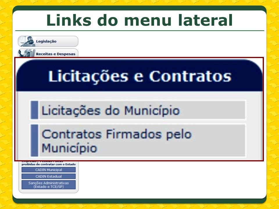 Links do menu lateral