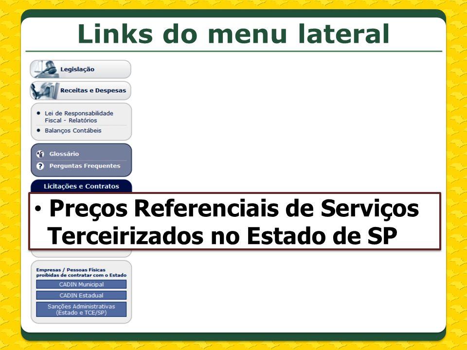 Links do menu lateral Preços Referenciais de Serviços
