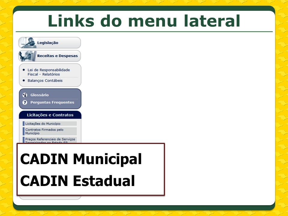 Links do menu lateral CADIN Municipal CADIN Estadual