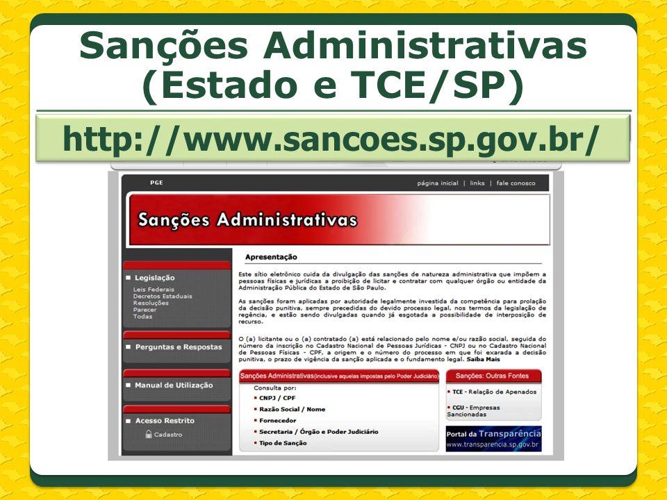Sanções Administrativas (Estado e TCE/SP)