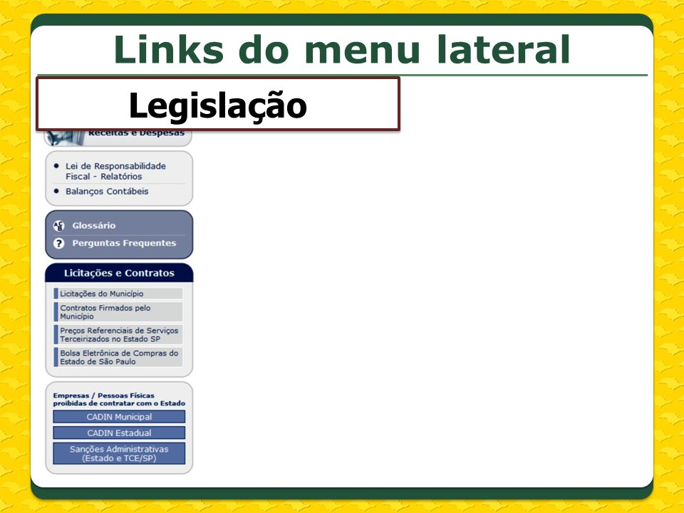 Links do menu lateral Legislação