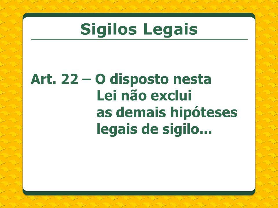 Sigilos Legais Art. 22 – O disposto nesta Lei não exclui as demais hipóteses legais de sigilo...